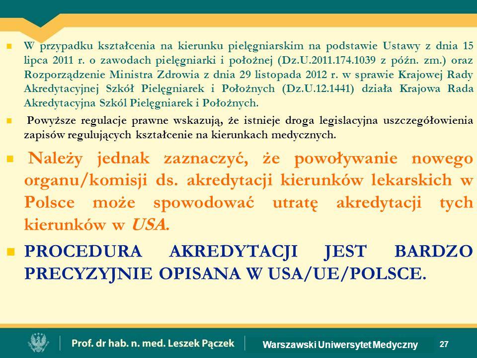 W przypadku kształcenia na kierunku pielęgniarskim na podstawie Ustawy z dnia 15 lipca 2011 r.