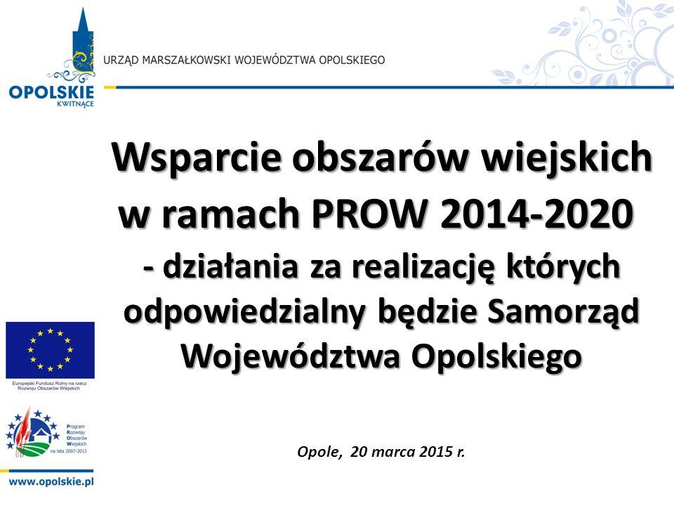 Wsparcie obszarów wiejskich w ramach PROW 2014-2020 w ramach PROW 2014-2020 - działania za realizację których odpowiedzialny będzie Samorząd Województ
