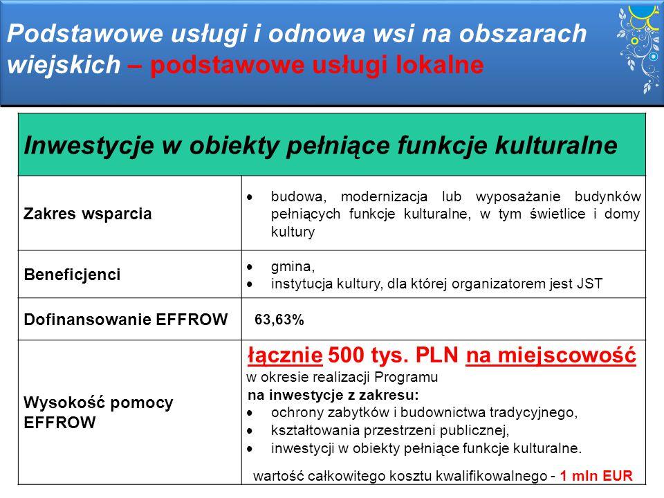 Kształtowanie przestrzeni publicznej Zakres wsparcia  ukształtowanie przestrzeni publicznej zgodnie z wymaganiami ładu przestrzennego Beneficjenci  gmina Dofinansowanie EFFROW 63,63% Wysokość pomocy EFFROW łącznie 500 tys.