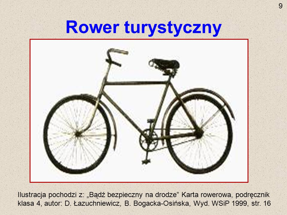 """Rower turystyczny Ilustracja pochodzi z: """"Bądź bezpieczny na drodze"""" Karta rowerowa, podręcznik klasa 4, autor: D. Łazuchniewicz, B. Bogacka-Osińska,"""