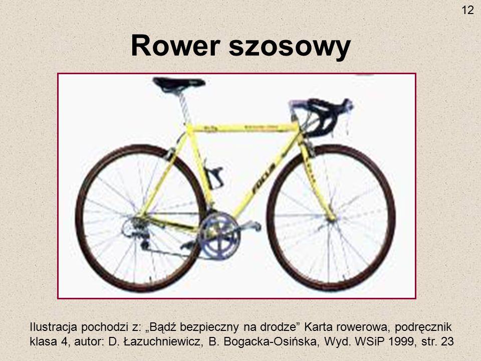 """Rower szosowy Ilustracja pochodzi z: """"Bądź bezpieczny na drodze"""" Karta rowerowa, podręcznik klasa 4, autor: D. Łazuchniewicz, B. Bogacka-Osińska, Wyd."""