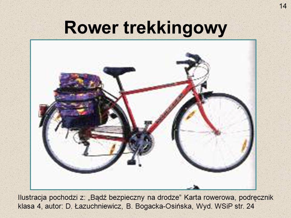 """Rower trekkingowy Ilustracja pochodzi z: """"Bądź bezpieczny na drodze"""" Karta rowerowa, podręcznik klasa 4, autor: D. Łazuchniewicz, B. Bogacka-Osińska,"""