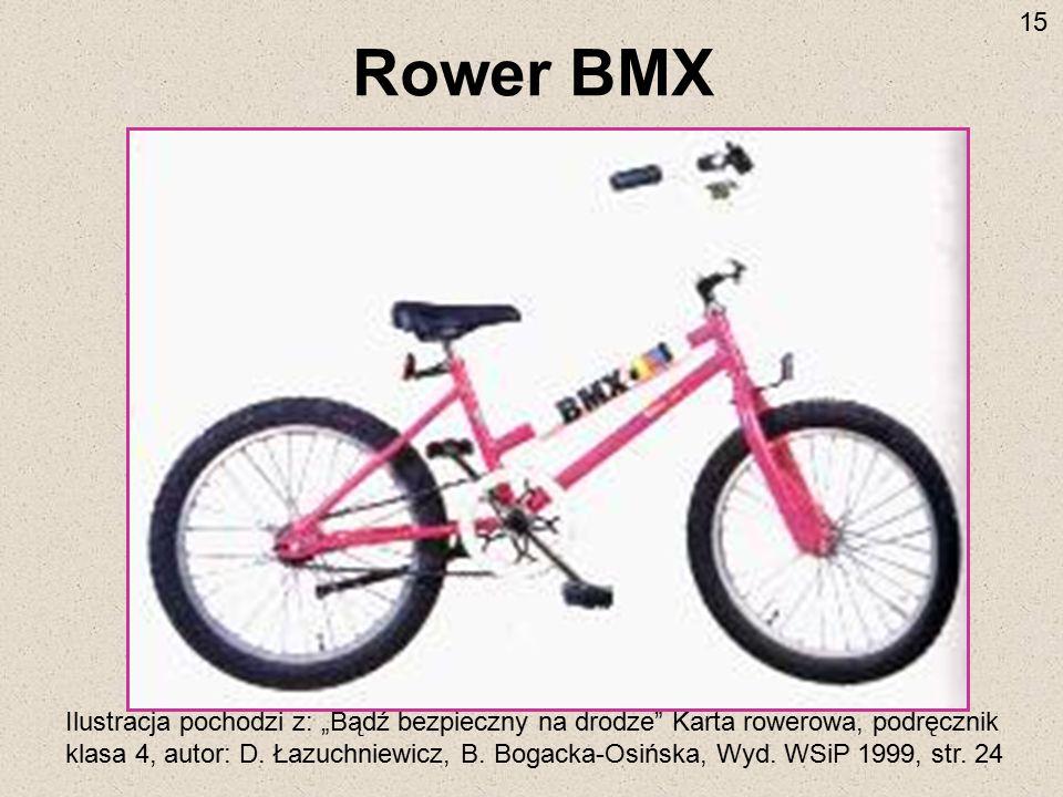 """Rower BMX Ilustracja pochodzi z: """"Bądź bezpieczny na drodze"""" Karta rowerowa, podręcznik klasa 4, autor: D. Łazuchniewicz, B. Bogacka-Osińska, Wyd. WSi"""