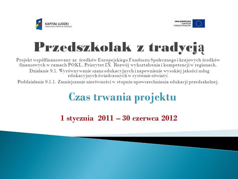 Projekt współfinansowany ze ś rodków Europejskiego Funduszu Społecznego i krajowych ś rodków finansowych w ramach POKL, Priorytet IX Rozwój wykształcenia i kompetencji w regionach.