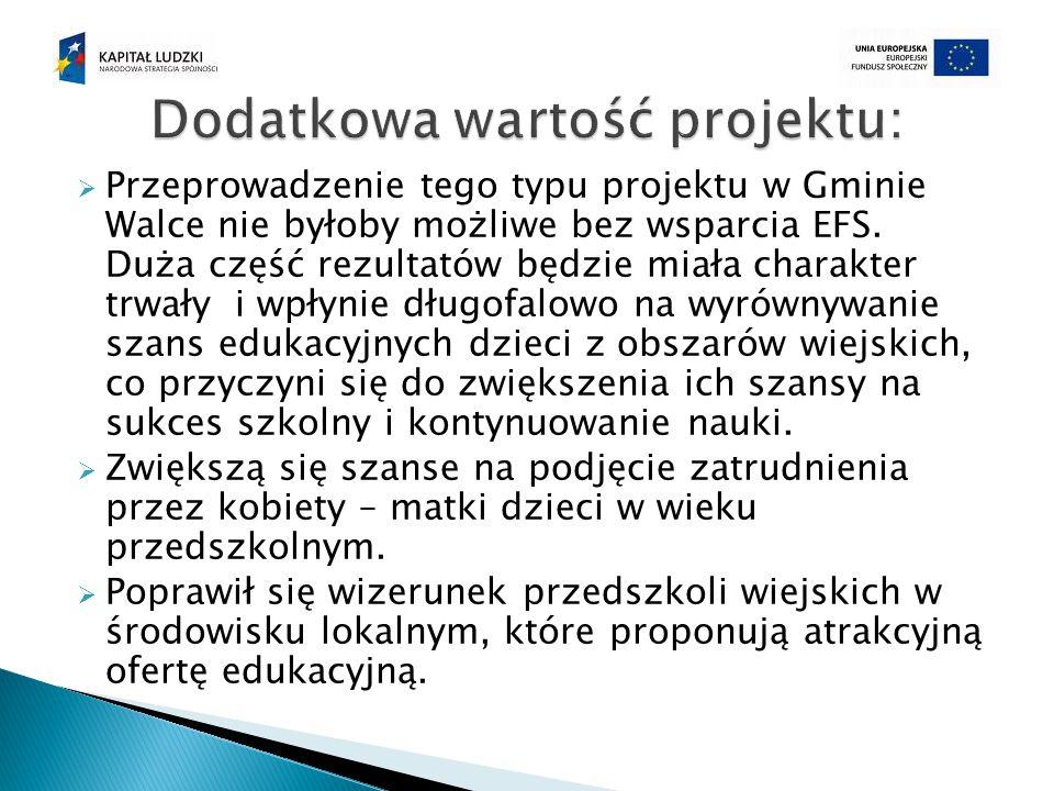  Przeprowadzenie tego typu projektu w Gminie Walce nie byłoby możliwe bez wsparcia EFS.