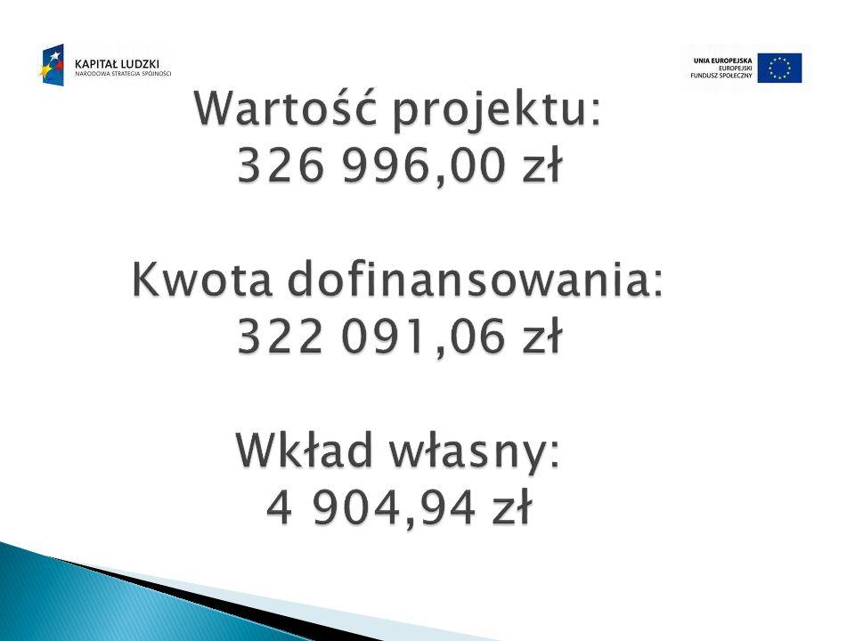 Wartość projektu: 326 996,00 zł Kwota dofinansowania: 322 091,06 zł Wkład własny: 4 904,94 zł