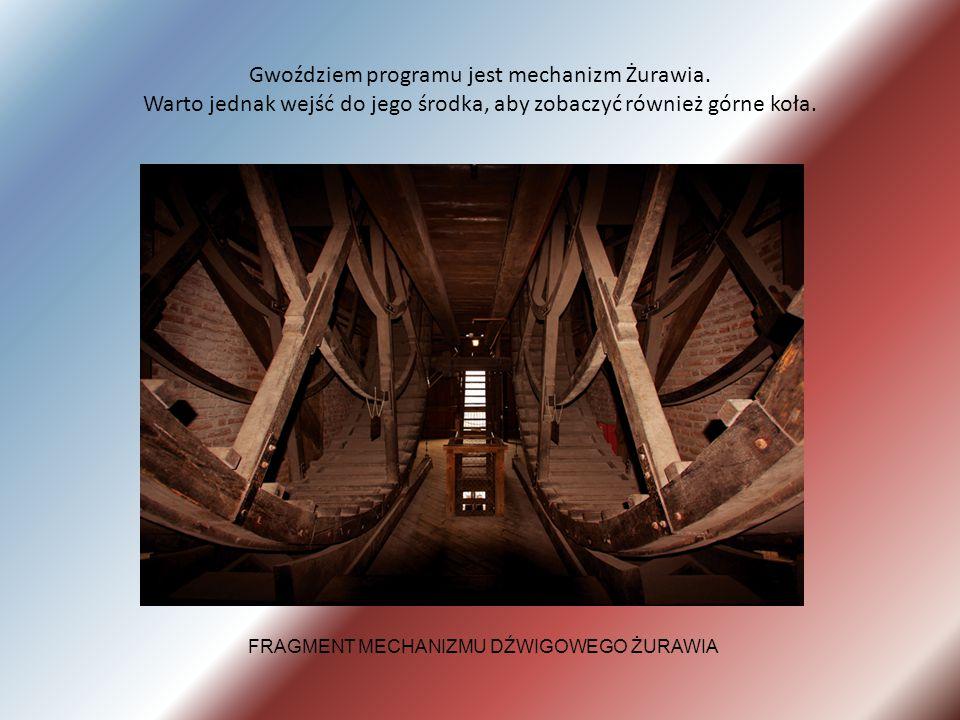 Gwoździem programu jest mechanizm Żurawia. Warto jednak wejść do jego środka, aby zobaczyć również górne koła. FRAGMENT MECHANIZMU DŹWIGOWEGO ŻURAWIA