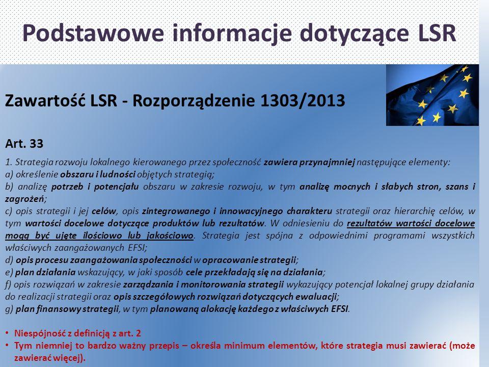Podstawowe informacje dotyczące LSR Zawartość LSR - Rozporządzenie 1303/2013 Art. 33 1. Strategia rozwoju lokalnego kierowanego przez społeczność zawi