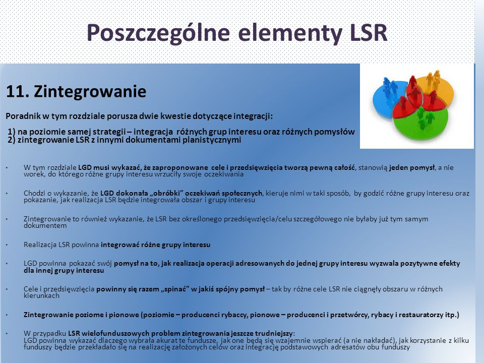 Poszczególne elementy LSR 11. Zintegrowanie Poradnik w tym rozdziale porusza dwie kwestie dotyczące integracji: 1) na poziomie samej strategii – integ