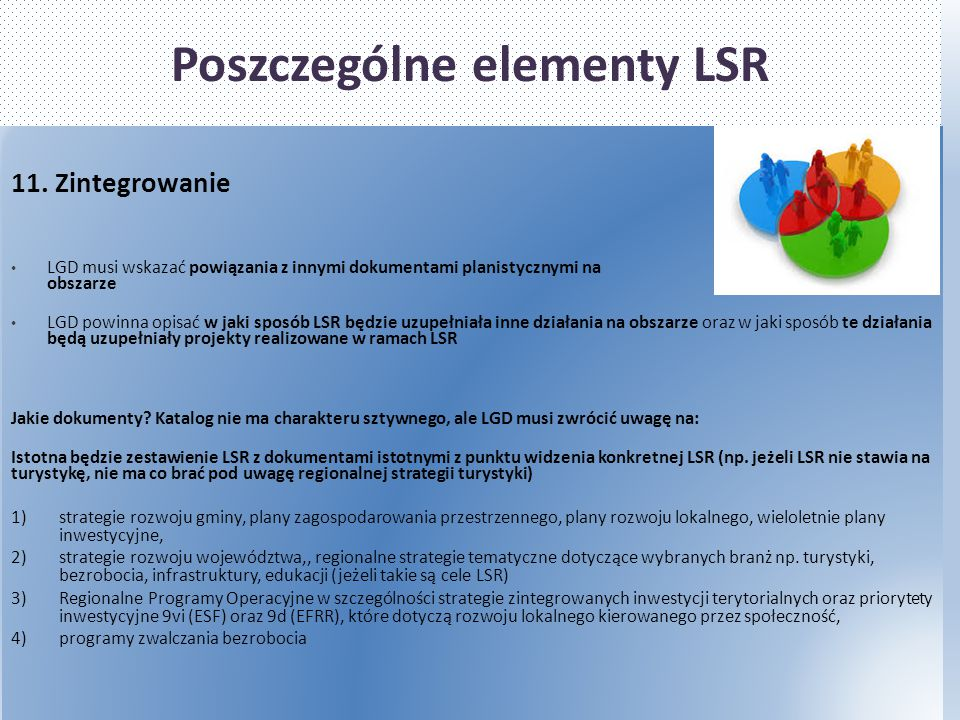 Poszczególne elementy LSR 11. Zintegrowanie LGD musi wskazać powiązania z innymi dokumentami planistycznymi na obszarze LGD powinna opisać w jaki spos