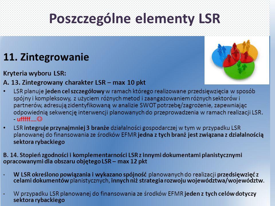 Poszczególne elementy LSR 11. Zintegrowanie Kryteria wyboru LSR: A. 13. Zintegrowany charakter LSR – max 10 pkt LSR planuje jeden cel szczegółowy w ra
