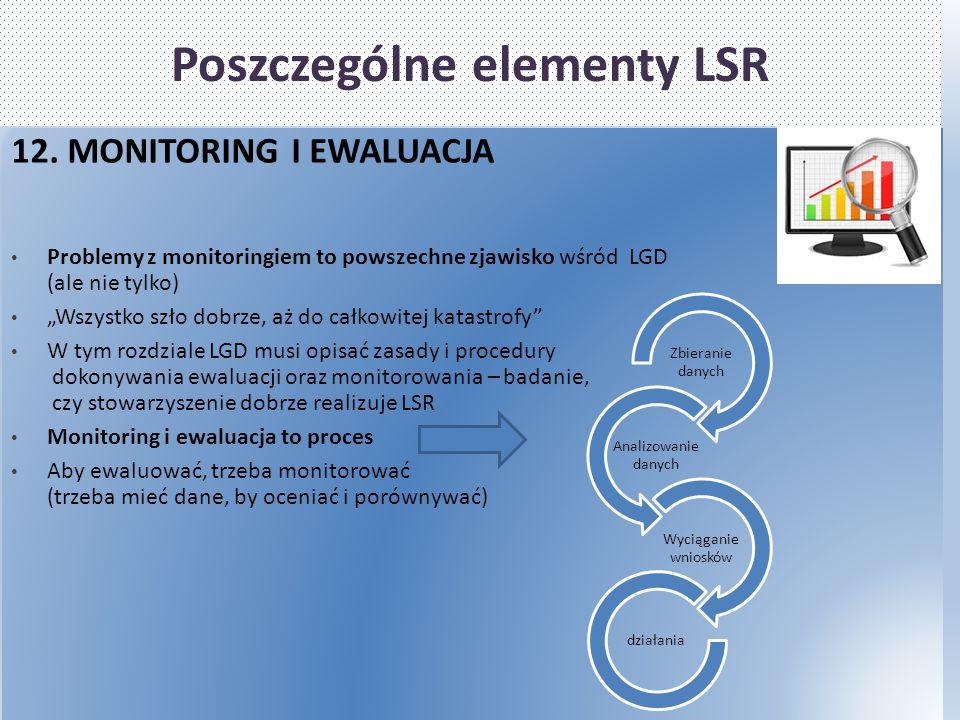 """Poszczególne elementy LSR 12. MONITORING I EWALUACJA Problemy z monitoringiem to powszechne zjawisko wśród LGD (ale nie tylko) """"Wszystko szło dobrze,"""