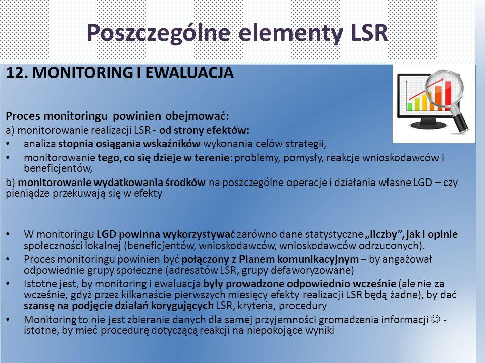 Poszczególne elementy LSR 12. MONITORING I EWALUACJA Proces monitoringu powinien obejmować: a) monitorowanie realizacji LSR - od strony efektów: anali