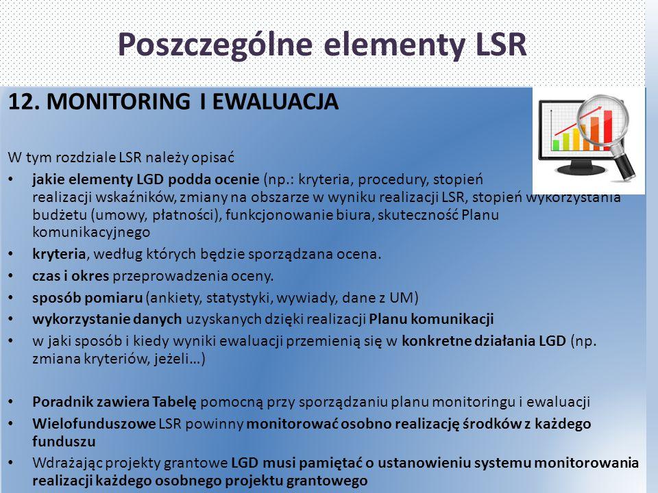 Poszczególne elementy LSR 12. MONITORING I EWALUACJA W tym rozdziale LSR należy opisać jakie elementy LGD podda ocenie (np.: kryteria, procedury, stop