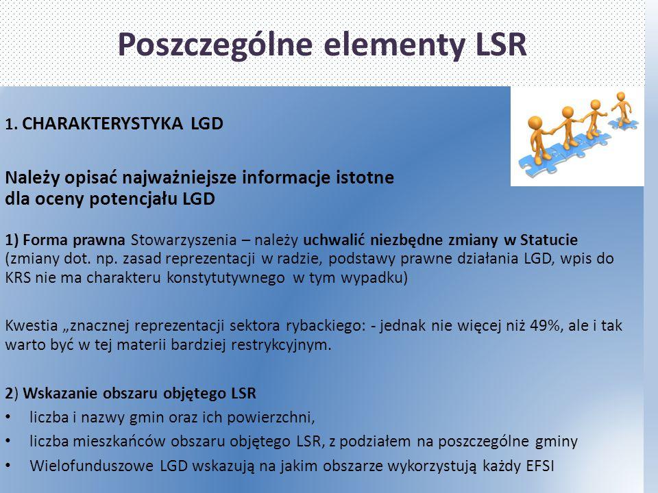 Poszczególne elementy LSR 1. CHARAKTERYSTYKA LGD Należy opisać najważniejsze informacje istotne dla oceny potencjału LGD 1) Forma prawna Stowarzyszeni