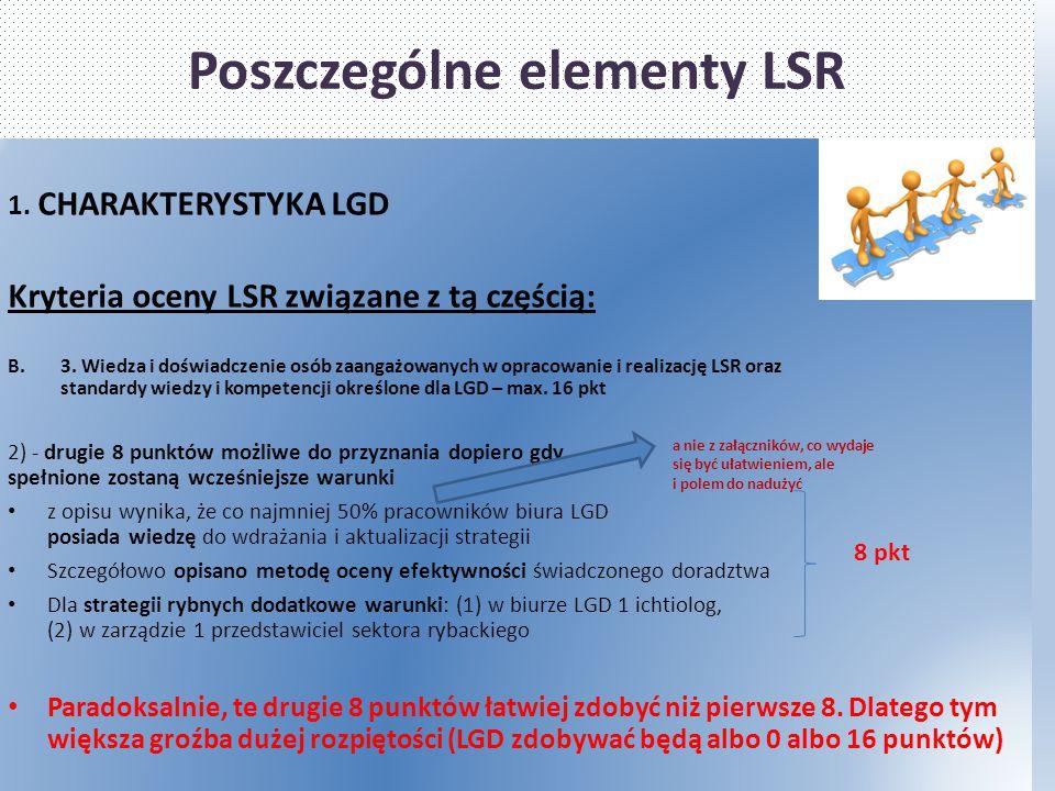 Poszczególne elementy LSR 1. CHARAKTERYSTYKA LGD Kryteria oceny LSR związane z tą częścią: B.3. Wiedza i doświadczenie osób zaangażowanych w opracowan
