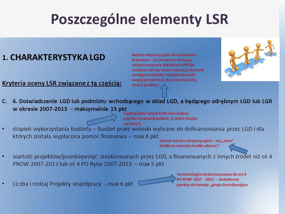 Poszczególne elementy LSR 1. CHARAKTERYSTYKA LGD Kryteria oceny LSR związane z tą częścią: C.6. Doświadczenie LGD lub podmiotu wchodzącego w skład LGD