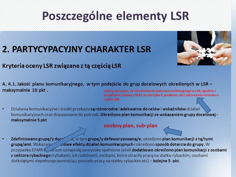 Poszczególne elementy LSR 2. PARTYCYPACYJNY CHARAKTER LSR Kryteria oceny LSR związane z tą częścią LSR A. 4.1. Jakość planu komunikacyjnego, w tym pod