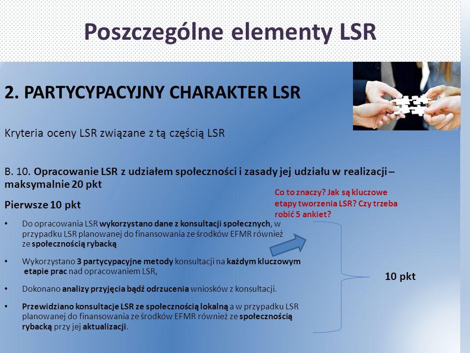Poszczególne elementy LSR 2. PARTYCYPACYJNY CHARAKTER LSR Kryteria oceny LSR związane z tą częścią LSR B. 10. Opracowanie LSR z udziałem społeczności