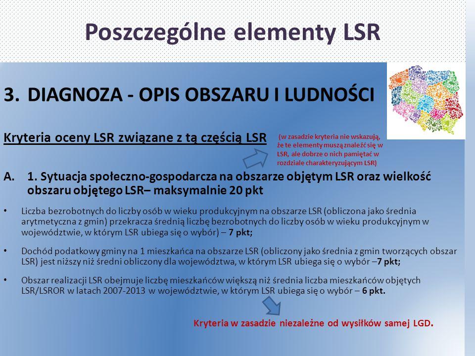 Poszczególne elementy LSR 3.DIAGNOZA - OPIS OBSZARU I LUDNOŚCI Kryteria oceny LSR związane z tą częścią LSR A.1. Sytuacja społeczno-gospodarcza na obs