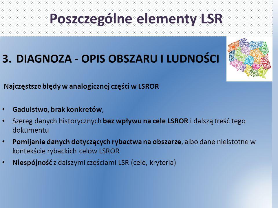 Poszczególne elementy LSR 3.DIAGNOZA - OPIS OBSZARU I LUDNOŚCI Najczęstsze błędy w analogicznej części w LSROR Gadulstwo, brak konkretów, Szereg danyc