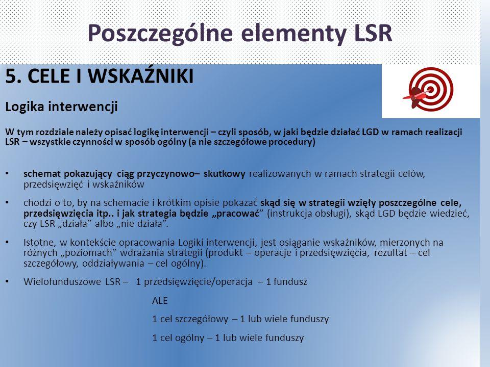 Poszczególne elementy LSR 5. CELE I WSKAŹNIKI Logika interwencji W tym rozdziale należy opisać logikę interwencji – czyli sposób, w jaki będzie działa