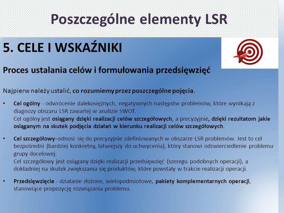 Poszczególne elementy LSR 5. CELE I WSKAŹNIKI Proces ustalania celów i formułowania przedsięwzięć Najpierw należy ustalić, co rozumiemy przez poszczeg