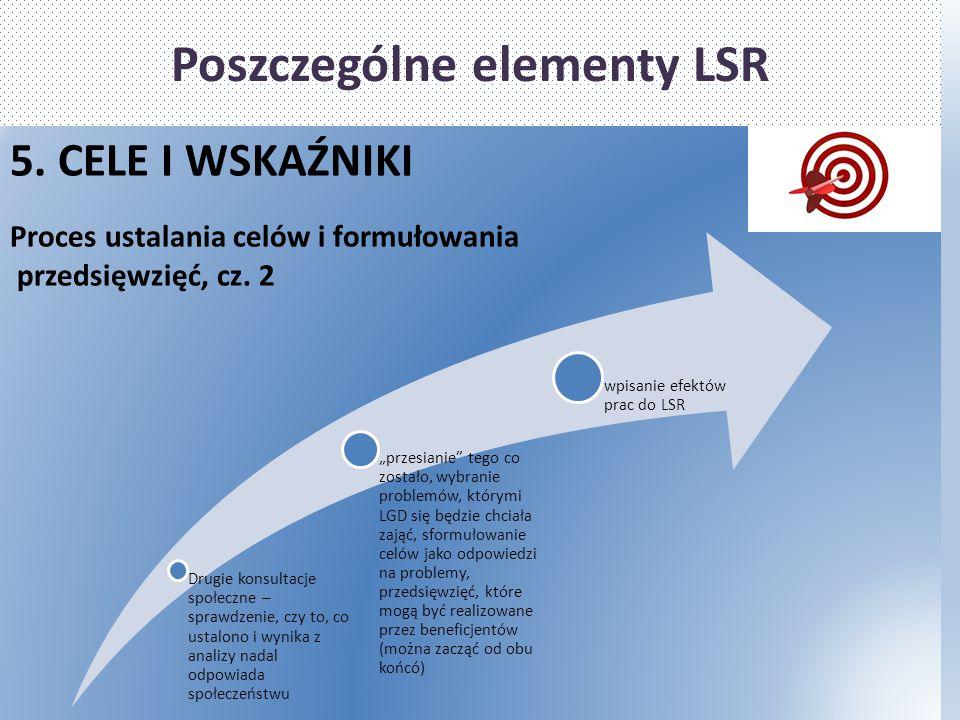 Poszczególne elementy LSR 5. CELE I WSKAŹNIKI Proces ustalania celów i formułowania przedsięwzięć, cz. 2 Drugie konsultacje społeczne – sprawdzenie, c