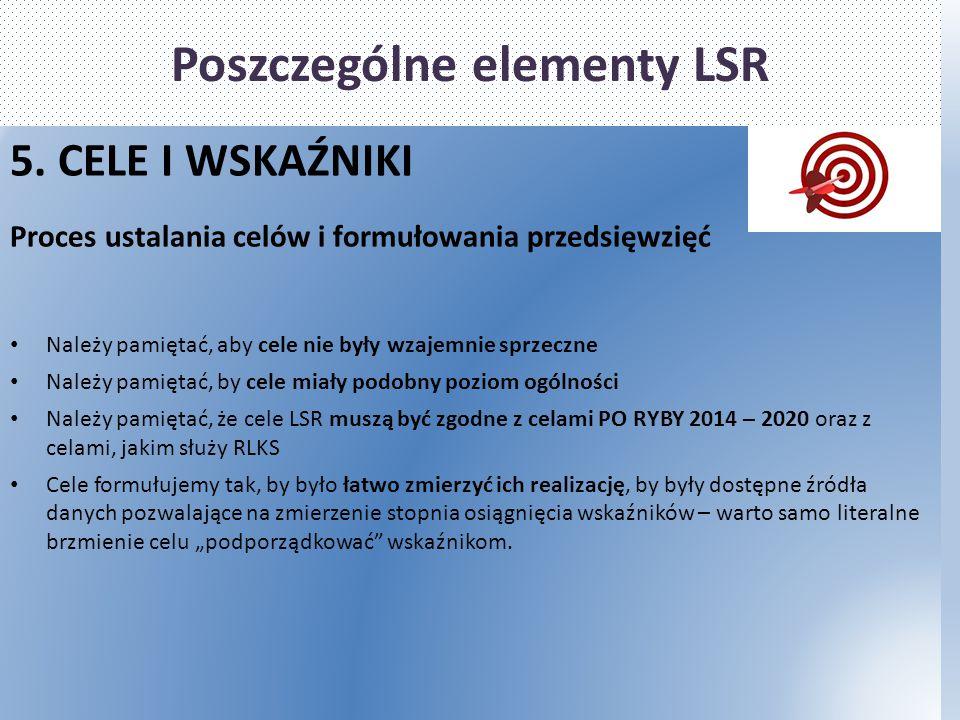 Poszczególne elementy LSR 5. CELE I WSKAŹNIKI Proces ustalania celów i formułowania przedsięwzięć Należy pamiętać, aby cele nie były wzajemnie sprzecz
