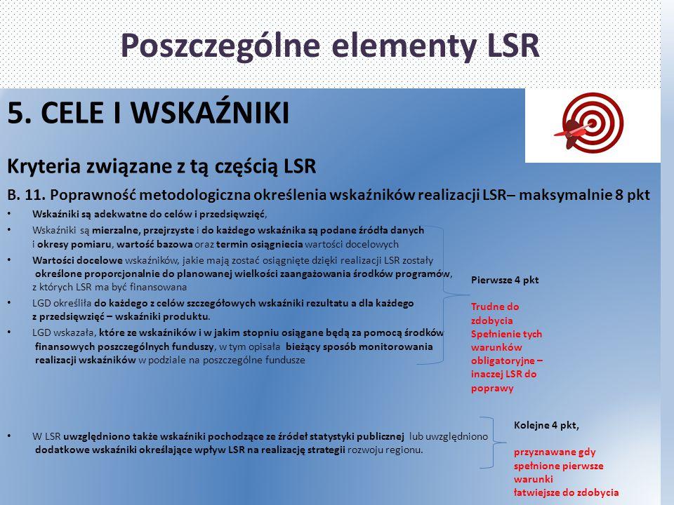 Poszczególne elementy LSR 5. CELE I WSKAŹNIKI Kryteria związane z tą częścią LSR B. 11. Poprawność metodologiczna określenia wskaźników realizacji LSR