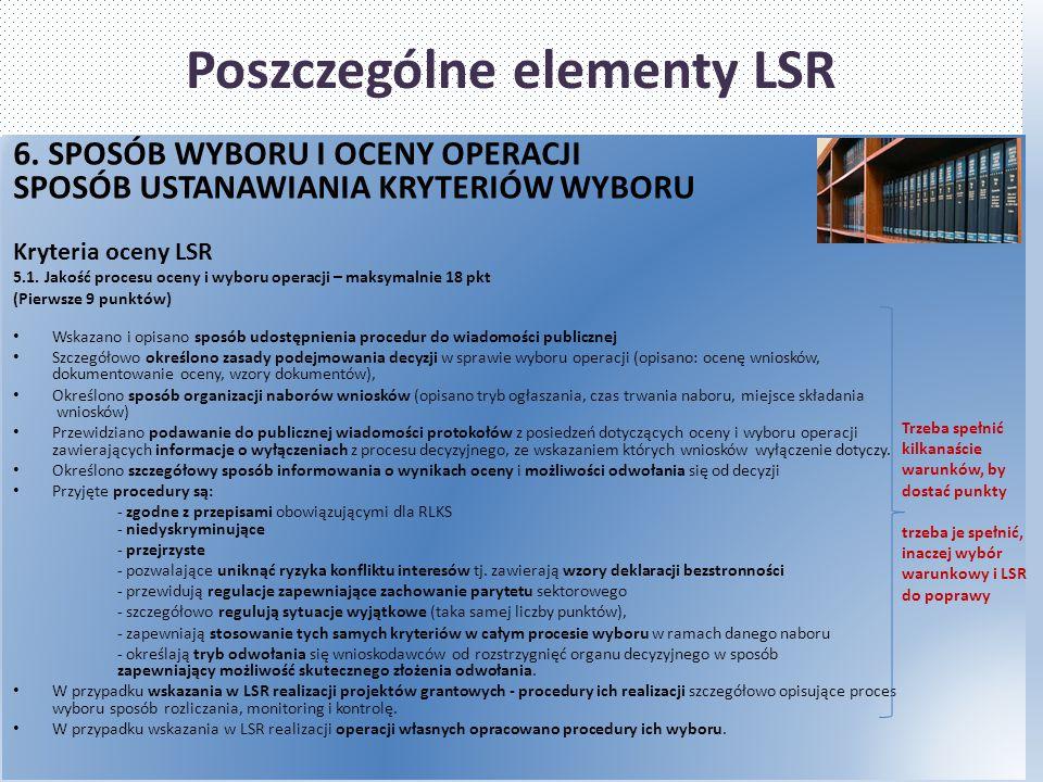 Poszczególne elementy LSR 6. SPOSÓB WYBORU I OCENY OPERACJI SPOSÓB USTANAWIANIA KRYTERIÓW WYBORU Kryteria oceny LSR 5.1. Jakość procesu oceny i wyboru