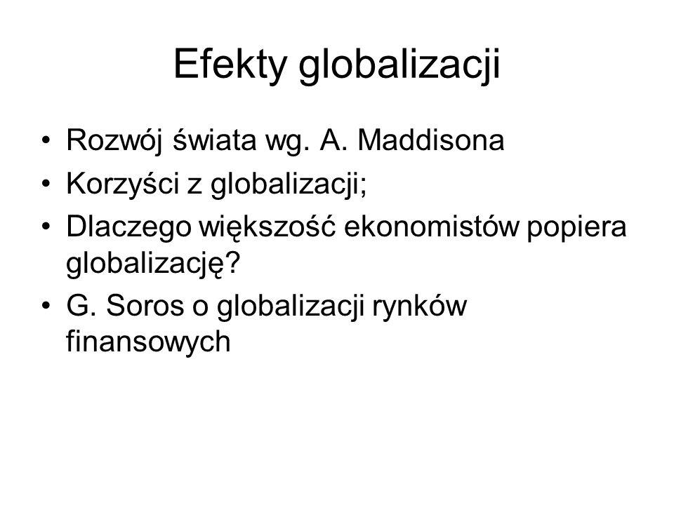 Efekty globalizacji Rozwój świata wg. A. Maddisona Korzyści z globalizacji; Dlaczego większość ekonomistów popiera globalizację? G. Soros o globalizac
