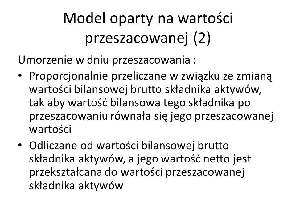Model oparty na wartości przeszacowanej (2) Umorzenie w dniu przeszacowania : Proporcjonalnie przeliczane w związku ze zmianą wartości bilansowej brut