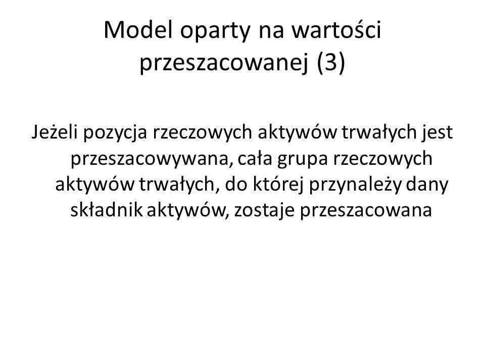 Model oparty na wartości przeszacowanej (3) Jeżeli pozycja rzeczowych aktywów trwałych jest przeszacowywana, cała grupa rzeczowych aktywów trwałych, do której przynależy dany składnik aktywów, zostaje przeszacowana