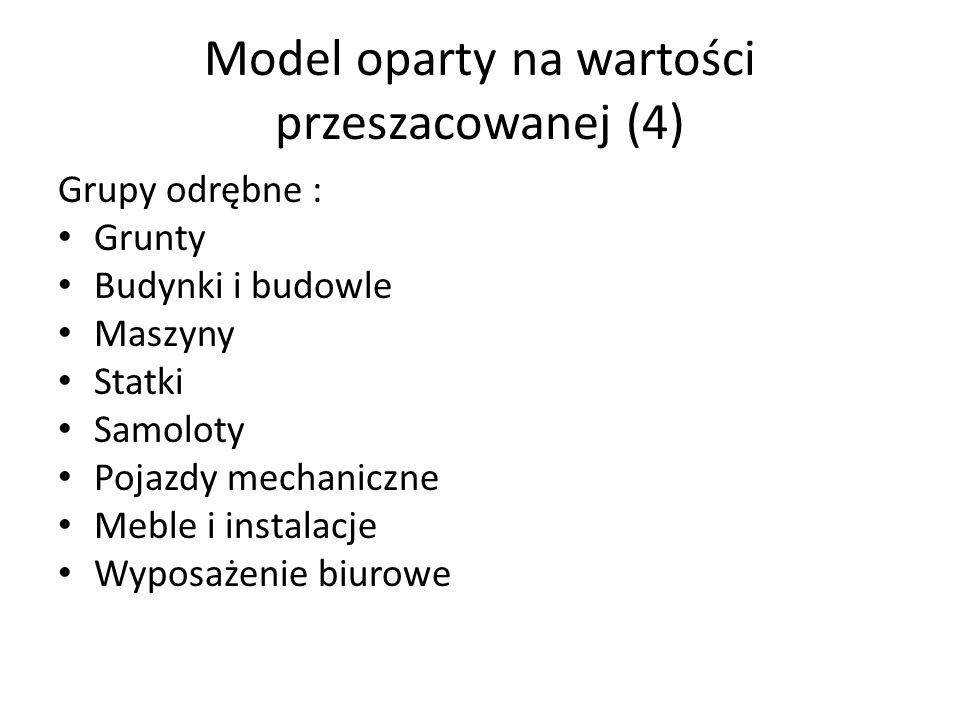 Model oparty na wartości przeszacowanej (4) Grupy odrębne : Grunty Budynki i budowle Maszyny Statki Samoloty Pojazdy mechaniczne Meble i instalacje Wyposażenie biurowe