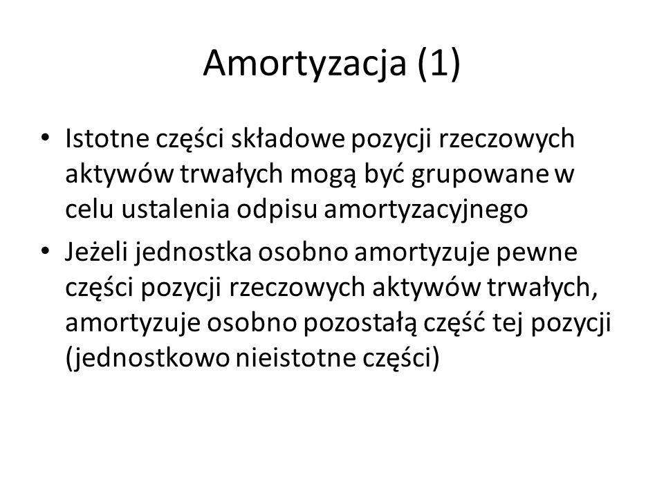 Amortyzacja (1) Istotne części składowe pozycji rzeczowych aktywów trwałych mogą być grupowane w celu ustalenia odpisu amortyzacyjnego Jeżeli jednostka osobno amortyzuje pewne części pozycji rzeczowych aktywów trwałych, amortyzuje osobno pozostałą część tej pozycji (jednostkowo nieistotne części)