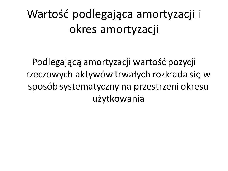Wartość podlegająca amortyzacji i okres amortyzacji Podlegającą amortyzacji wartość pozycji rzeczowych aktywów trwałych rozkłada się w sposób systematyczny na przestrzeni okresu użytkowania