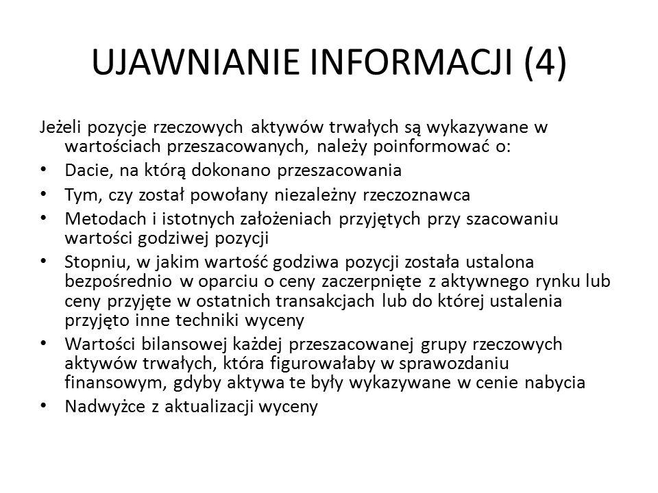 UJAWNIANIE INFORMACJI (4) Jeżeli pozycje rzeczowych aktywów trwałych są wykazywane w wartościach przeszacowanych, należy poinformować o: Dacie, na któ