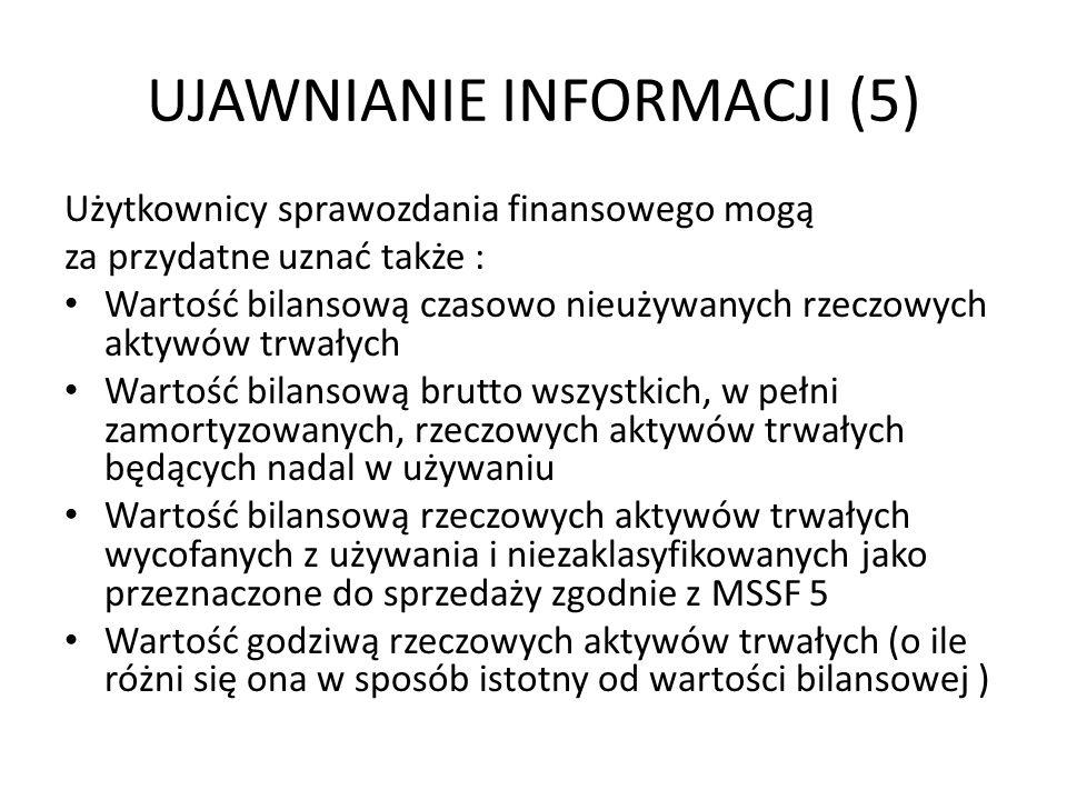 UJAWNIANIE INFORMACJI (5) Użytkownicy sprawozdania finansowego mogą za przydatne uznać także : Wartość bilansową czasowo nieużywanych rzeczowych aktyw