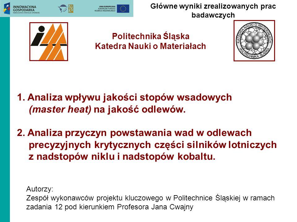 Główne wyniki zrealizowanych prac badawczych Politechnika Śląska Katedra Nauki o Materiałach 1. Analiza wpływu jakości stopów wsadowych (master heat)