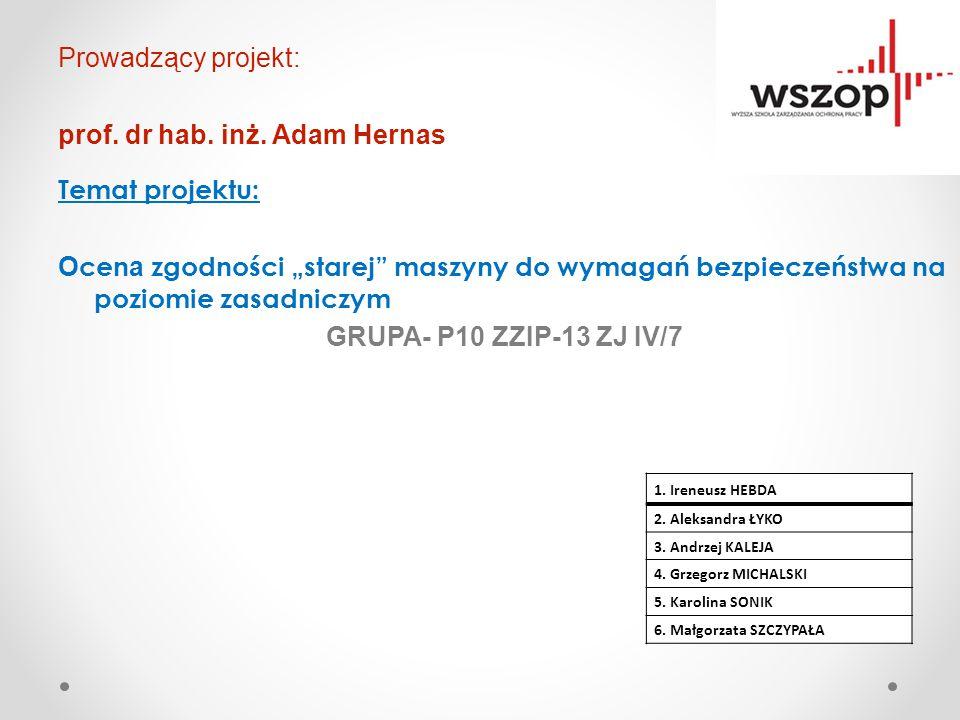 """Prowadzący projekt: prof. dr hab. inż. Adam Hernas Temat projektu: O cen a zgodności """"starej"""" maszyny do wymagań bezpieczeństwa na poziomie zasadniczy"""