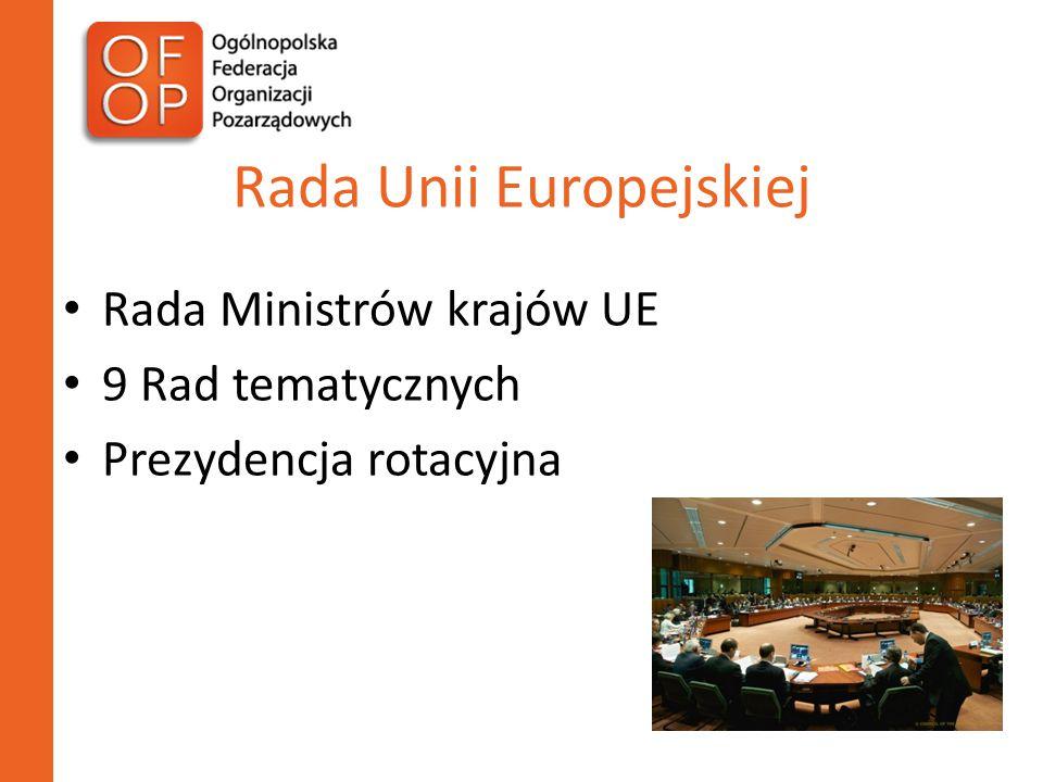 Rada Unii Europejskiej Rada Ministrów krajów UE 9 Rad tematycznych Prezydencja rotacyjna