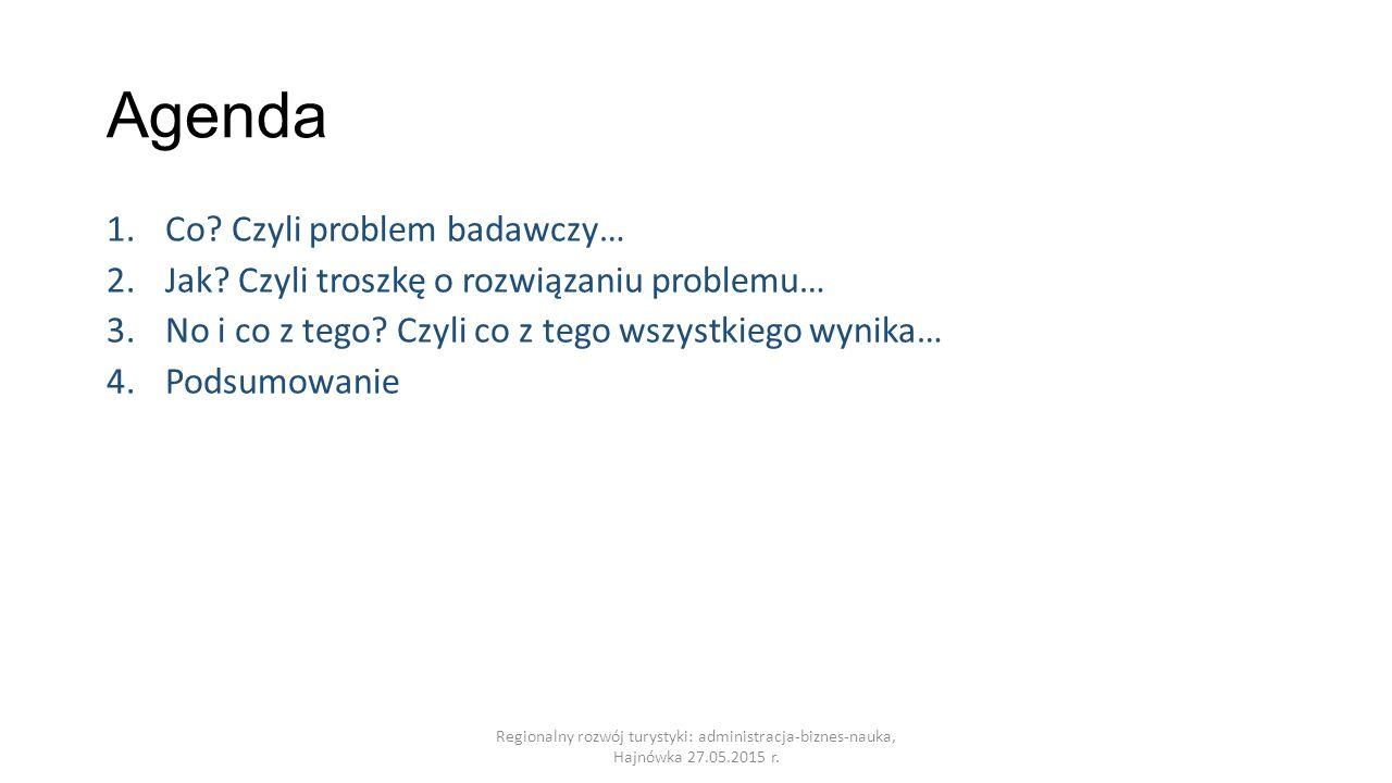 Agenda 1.Co.Czyli problem badawczy… 2.Jak. Czyli troszkę o rozwiązaniu problemu… 3.No i co z tego.