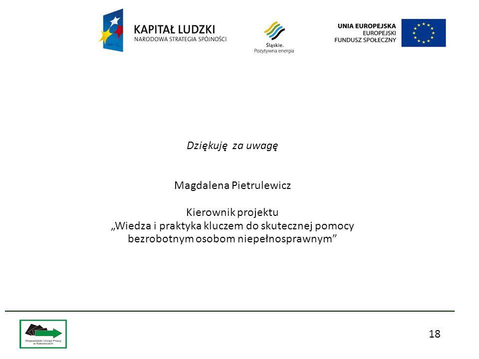 """18 Dziękuję za uwagę Magdalena Pietrulewicz Kierownik projektu """"Wiedza i praktyka kluczem do skutecznej pomocy bezrobotnym osobom niepełnosprawnym"""