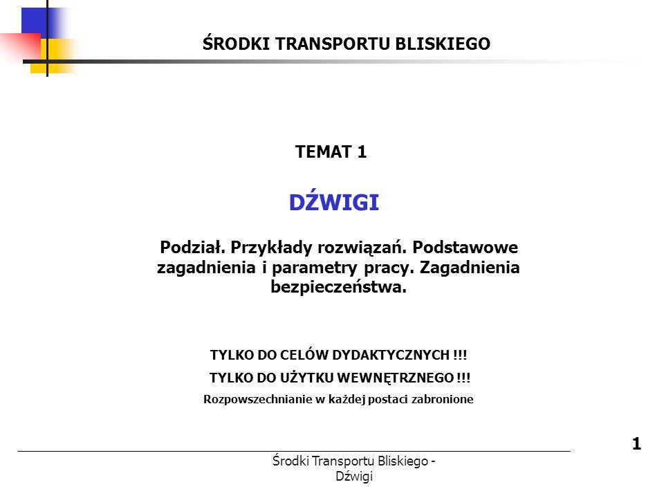 Środki Transportu Bliskiego - Dźwigi ŚRODKI TRANSPORTU BLISKIEGO DŹWIGI 1 TEMAT 1 Podział. Przykłady rozwiązań. Podstawowe zagadnienia i parametry pra