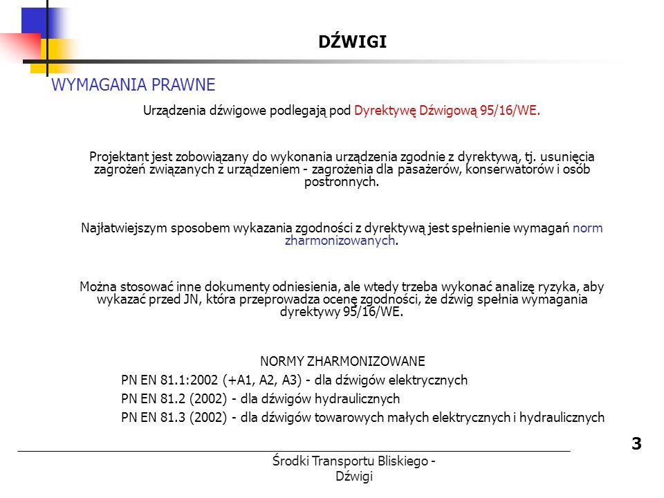 Środki Transportu Bliskiego - Dźwigi DŹWIGI 3 WYMAGANIA PRAWNE Urządzenia dźwigowe podlegają pod Dyrektywę Dźwigową 95/16/WE. Projektant jest zobowiąz