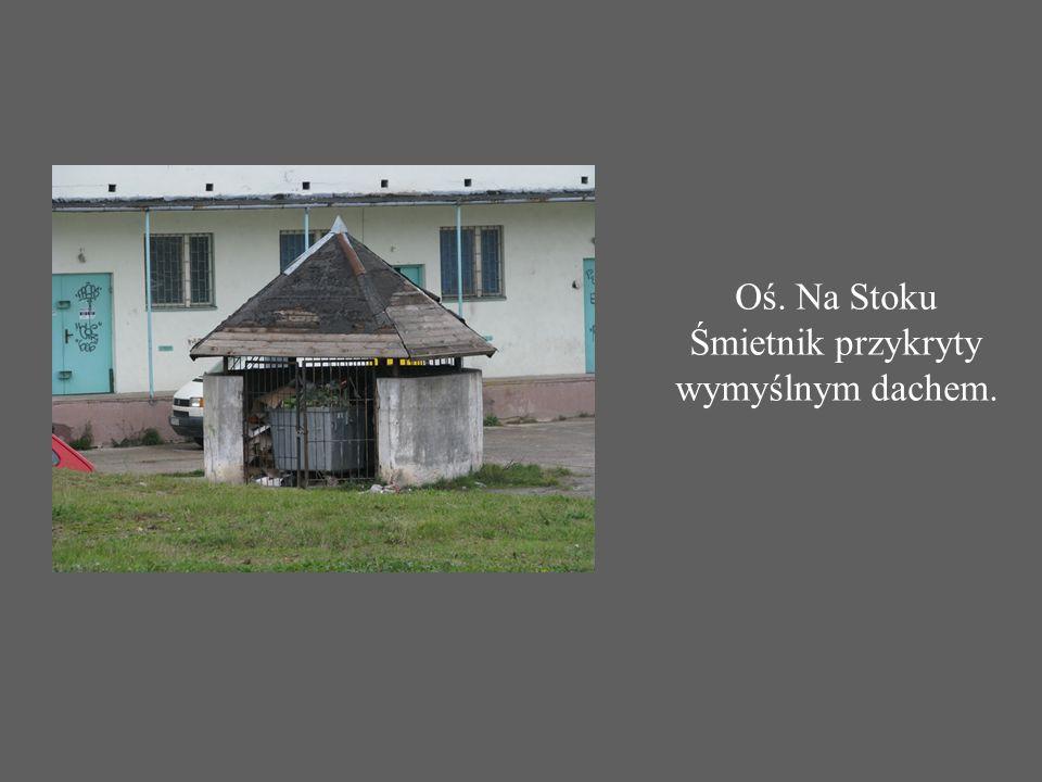 Oś. Na Stoku Śmietnik przykryty wymyślnym dachem.