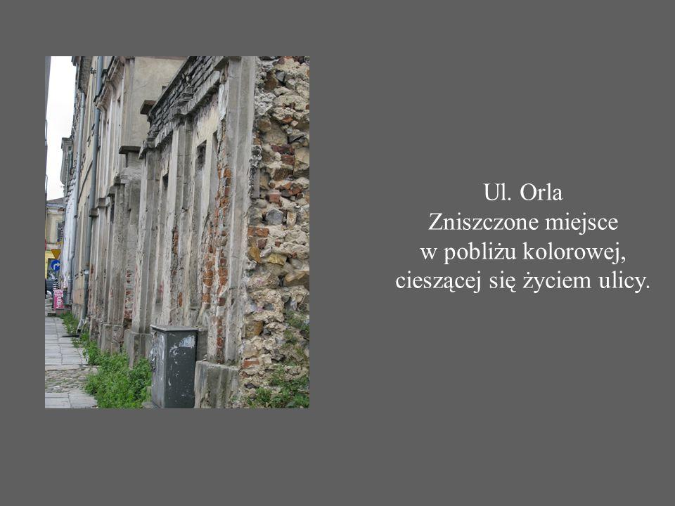 Ul. Orla Zniszczone miejsce w pobliżu kolorowej, cieszącej się życiem ulicy.
