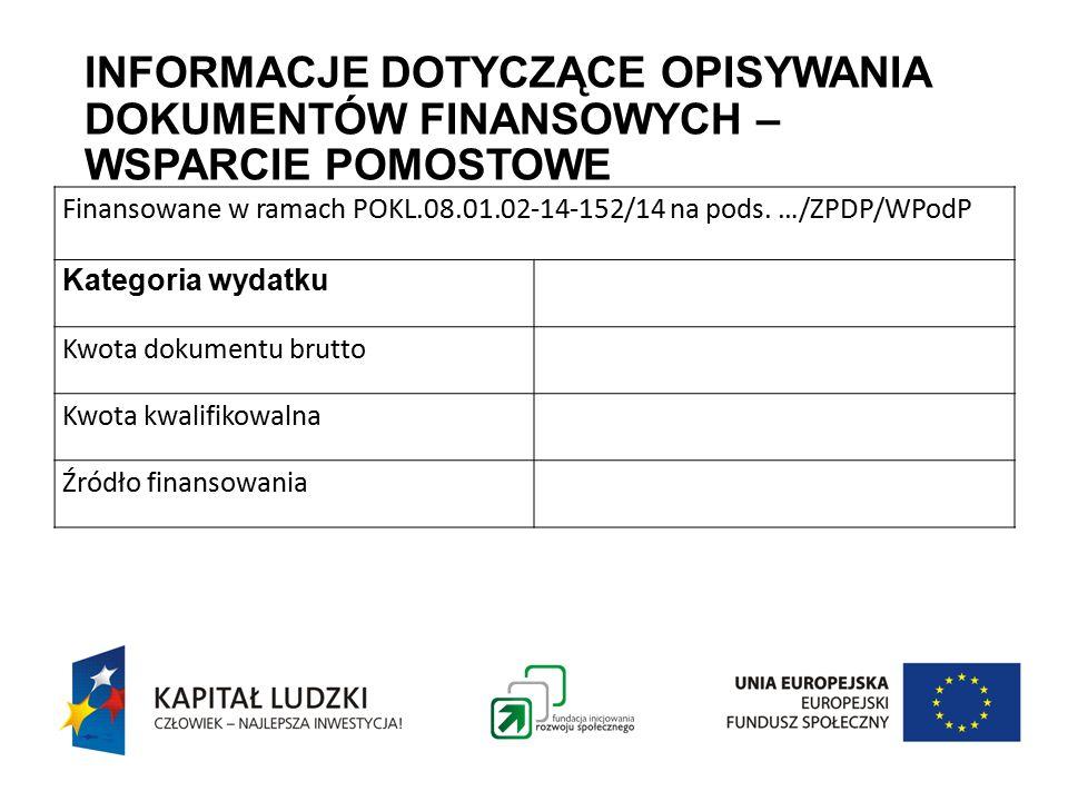 INFORMACJE DOTYCZĄCE OPISYWANIA DOKUMENTÓW FINANSOWYCH – WSPARCIE POMOSTOWE Finansowane w ramach POKL.08.01.02-14-152/14 na pods.