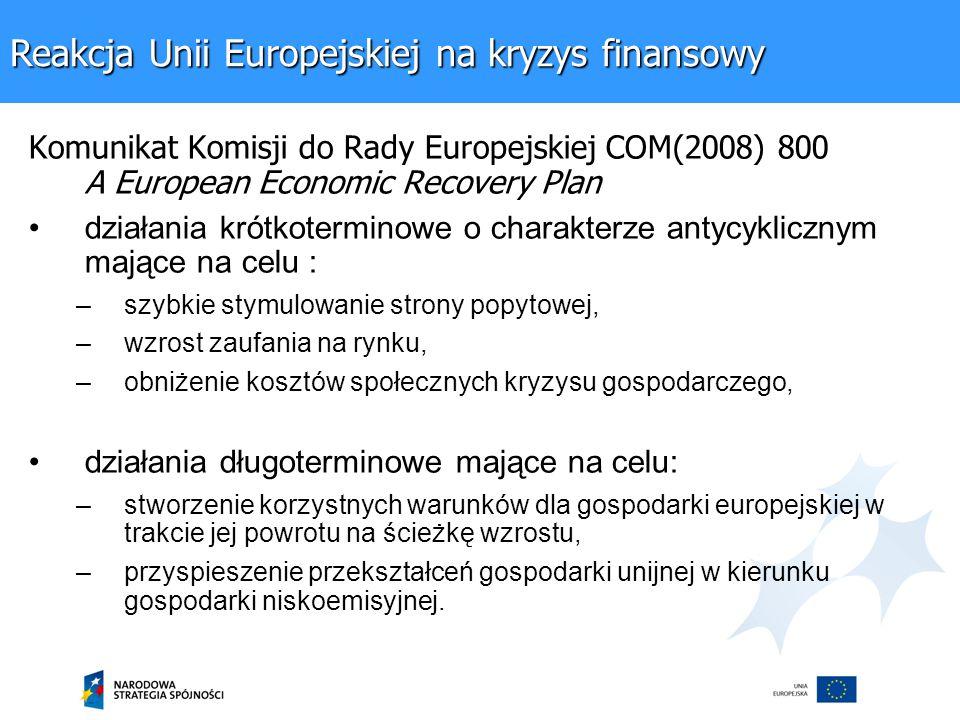 Komunikat Komisji do Rady Europejskiej COM(2008) 800 A European Economic Recovery Plan działania krótkoterminowe o charakterze antycyklicznym mające na celu : –szybkie stymulowanie strony popytowej, –wzrost zaufania na rynku, –obniżenie kosztów społecznych kryzysu gospodarczego, działania długoterminowe mające na celu: –stworzenie korzystnych warunków dla gospodarki europejskiej w trakcie jej powrotu na ścieżkę wzrostu, –przyspieszenie przekształceń gospodarki unijnej w kierunku gospodarki niskoemisyjnej.